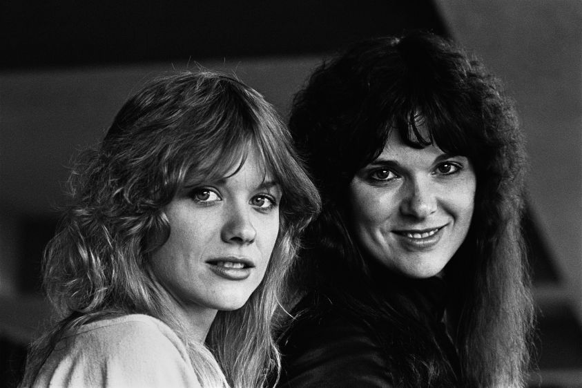 LOS ANGELES, CA - 1978:  Ann and Nancy Wilson (l-r), the creative force of the Seattle-based rock group Heart, pose during a 1978 Los Angeles, California, portrait session. (Photo by George Rose/Getty Images) *** Local Caption *** Ann Wilson;Nancy Wilson